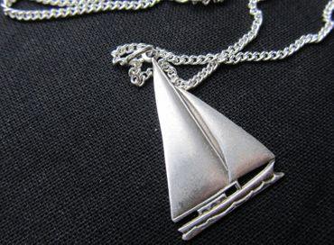 Sailboat Sailing Necklace Miniblings 45cm Ship Boat Ocean Water Sport Silver 4cm – Bild 1