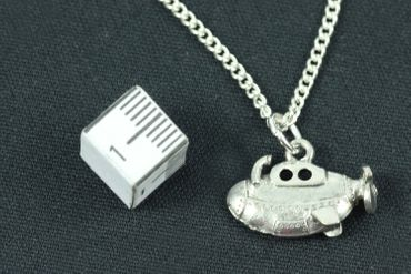 Submarine Necklace Miniblings 45cm Boat Ship Ocean Yellow Submarine Silver Plated – Bild 3