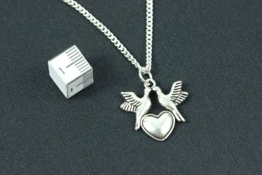 Birds With Heart Necklace Miniblings 45cm Bird Valentine'S Day Love Silver Plated – Bild 2