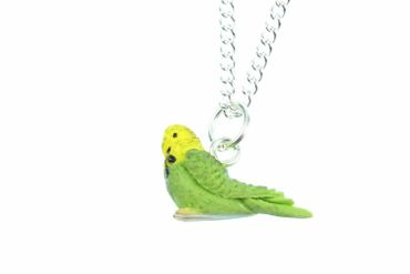 Budgie Necklace Miniblings 45cm Parakeet Bird Animal Pet Parrot Green – Bild 1