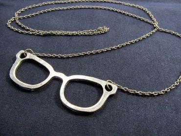 Glasses Necklace Miniblings 50cm Retro Hipster Nerd Bronze – Bild 2