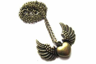 Heart With Wings Necklace Miniblings 50cm Wing Valentine Valentines Day Love Bronze – Bild 1