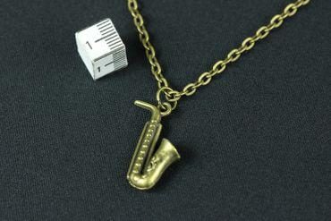 Saxophone Necklace Miniblings 50cm Music Musician Instrument Saxophonist Sax Jazz Bronze – Bild 3