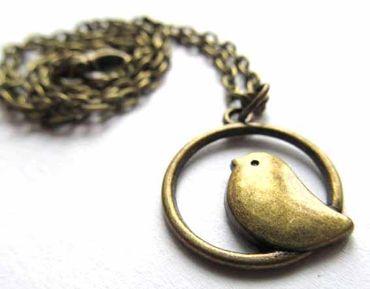 Bird Circle 50cm Necklace Miniblings Birds Sparrow Tomtit Animal Mini Bronze – Bild 3