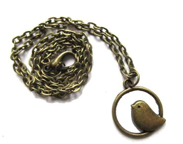 Vogel im Rahmen Kette Halskette Miniblings 50cm Vogelkette Kreis Mini Bronze