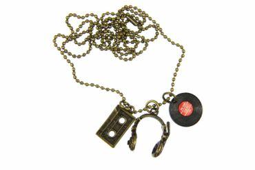 3er Set DJ Musiker Kette Halskette Miniblings 80cm Kopfhörer LP Tape Bronze – Bild 1