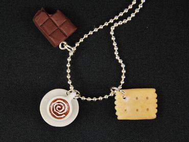 3er Set Kaffeekränzchen Kette Halskette Miniblings 80cm Tasse Keks Schokolade – Bild 4