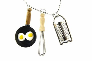 Kitchen Necklace Miniblings 80cm Frying Pan Grater Whisk Cooking Food – Bild 1