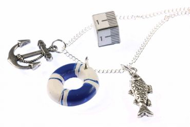 Maritim Boat Lifebuoy Necklace Miniblings 80cm Anchor Ship Sea Sailing Ocean Blue – Bild 6