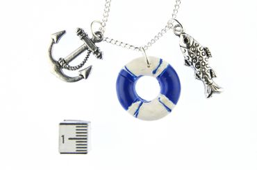 Maritim Boat Lifebuoy Necklace Miniblings 80cm Anchor Ship Sea Sailing Ocean Blue – Bild 5