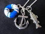 3er Set Maritim Kette Halskette Miniblings 80cm Anker Rettungsring Fisch blau 001