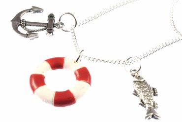 Maritim Boat Lifebuoy Necklace Miniblings 80cm Anchor Ship Sea Sailing Ocean Red – Bild 5