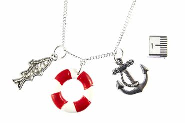 Maritim Boat Lifebuoy Necklace Miniblings 80cm Anchor Ship Sea Sailing Ocean Red – Bild 4
