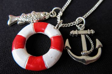 Maritim Boat Lifebuoy Necklace Miniblings 80cm Anchor Ship Sea Sailing Ocean Red – Bild 1