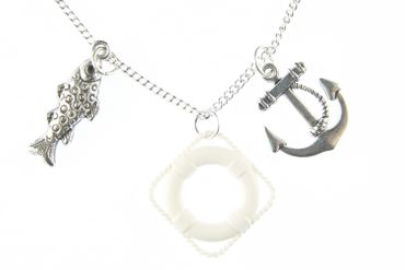 Maritim Necklace Miniblings 80cm Anchor Fish Lifebuoy White Ship Sailing Ocean Ahoy – Bild 2