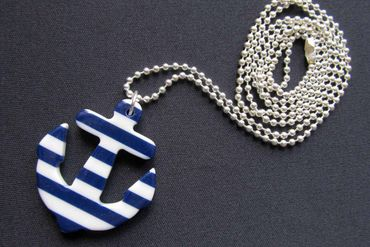 Anchor Necklace Miniblings 80cm Maritim Ship Blue Boat Ocean White Striped Stripes XL – Bild 3