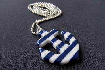 Anchor Necklace Miniblings 80cm Maritim Ship Blue Boat Ocean White Striped Stripes XL – Bild 5