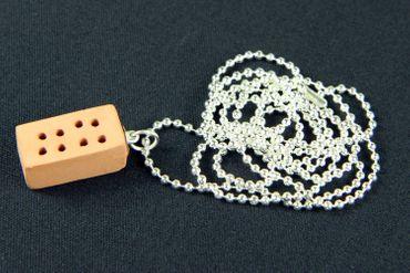 Backstein Ziegelstein Kette Halskette Miniblings 80cm Stein Haus Maurer Mauer – Bild 2