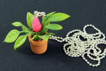 Blumentopf Topfpflanze Kette Halskette Miniblings 80cm Blume Pflanze 3D pink