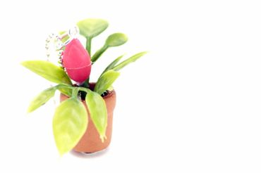 Blumentopf Topfpflanze Kette Halskette Miniblings 80cm Blume Pflanze 3D pink – Bild 2