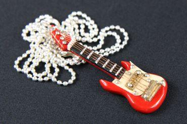 E-Gitarre Kette Halskette Miniblings 80cm Gitarrist Musik Musiker mit Box rot – Bild 3