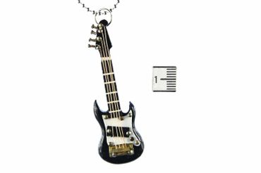 Electric Guitar Necklace Miniblings 80cm Guitarist Instrument E-Guitar Musician With Box Black – Bild 5