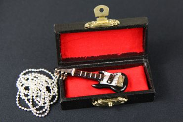 Electric Guitar Necklace Miniblings 80cm Guitarist Instrument E-Guitar Musician With Box Black – Bild 6