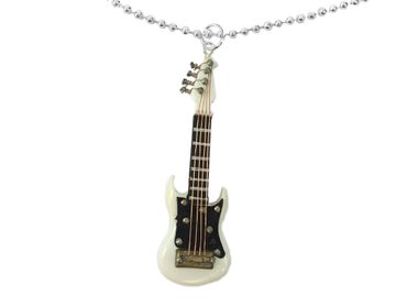 Electric Guitar Necklace Miniblings 80cm Guitarist Instrument E-Guitar Musician White With Box – Bild 1