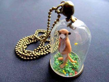 Erdmännchen Glasglocke Kette Halskette Miniblings 80cm Präriehund Kuppel Glas