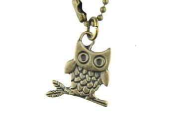 Eule Kette Halskette Miniblings 80cm Eulenkette Eulen Vogel Bird Uhu Kauz Bronze