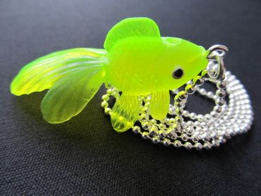 Fish Koi Necklace Miniblings 80cm Betta Fish Necklace Rubber Yellow Neon – Bild 5