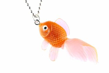 Fisch Koi Kette Halskette Miniblings 80cm Kampffisch Fischkette Gummi neonorange – Bild 1