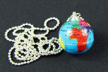 Globus Necklace Miniblings 80cm Earth Globe World Planet Blue – Bild 2