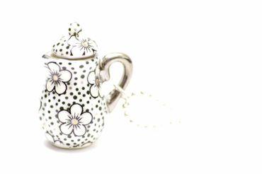Kaffeekanne Teekanne Kette Tee Kaffee Miniblings 80cm Kanne Porzellan Punkte – Bild 2