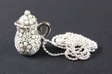 Kaffeekanne Teekanne Kette Tee Kaffee Miniblings 80cm Kanne Porzellan Punkte – Bild 1