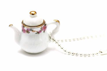 Coffeepot Teapot Tea Coffee Necklace Miniblings 80cm Jug Porcelain Ceramic Mug Pot Round White – Bild 2