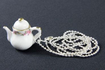 Coffeepot Teapot Tea Coffee Necklace Miniblings 80cm Jug Porcelain Ceramic Mug Pot Round White – Bild 1