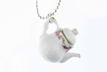 Coffeepot Teapot Tea Coffee Necklace Miniblings 80cm Jug Porcelain Ceramic Mug Pot Round White – Bild 5
