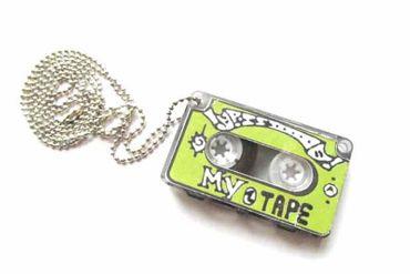Cassette Necklace Miniblings 80cm Dj Musician Tape Record Mixtape Green XL – Bild 1