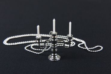 Candlestick Candlesticks Candelabra Candle Necklace Miniblings 80cm Silver Plated 3 – Bild 3
