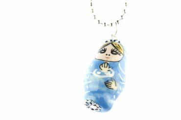 Matryoshka Necklace Miniblings 80cm Babuschka Russian Doll Porcelain Ceramic Blue – Bild 2