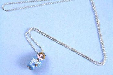 Matryoshka Necklace Miniblings 80cm Babuschka Russian Doll Porcelain Ceramic Blue – Bild 5