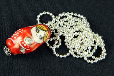 Matroschka Kette Halskette Miniblings 80cm Babuschka russ. Puppe Porzellan rot – Bild 2