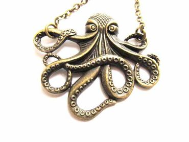Octopus Ocean Animal Kraken Necklace Miniblings 50cm Seafood Bronze XL – Bild 3