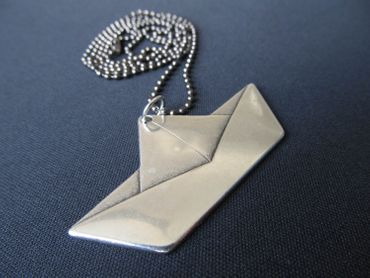 Paper Ship Sailing Ship Boat Necklace Miniblings 80cm Origami Silver Plated Flat XL – Bild 4