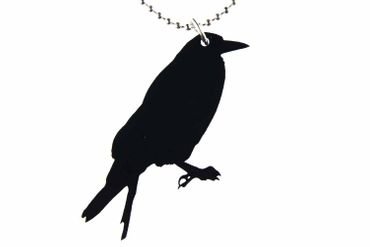 Crow Raven Bird Necklace Miniblings 80cm Animal Myth Witch Acrylic Large – Bild 1