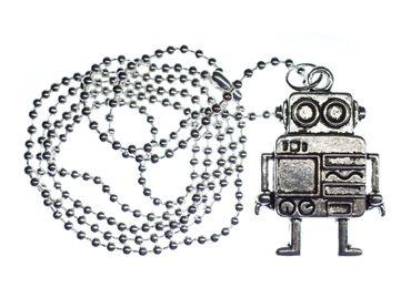 Roboter Kette Halskette Miniblings 80cm Maschine Computer Scifi versilbert XL