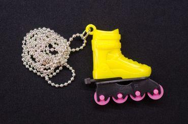 Rollerblades Rollschuhe Inlineskates Kette Halskette Miniblings Skates 80cm gelb – Bild 3