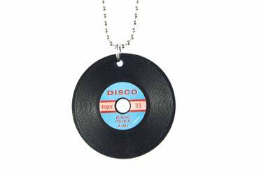 Schallplatte Kette Halskette Miniblings 80cm DJ Musik LP Vinyl Musiker schw  XL – Bild 1