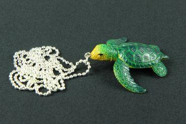 Schildkröte Kette Halskette Miniblings 80cm Meereschildkröte Turtle Gummi grün – Bild 2